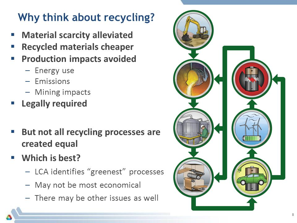 Recycling processes can be compared using several interconnected criteria  Reduction of life-cycle impacts  Energy savings  Alleviation of material supply constraints  Reduction of imports  Compliance with regulations  Economics  Feed requirements  Utility of products  Scale