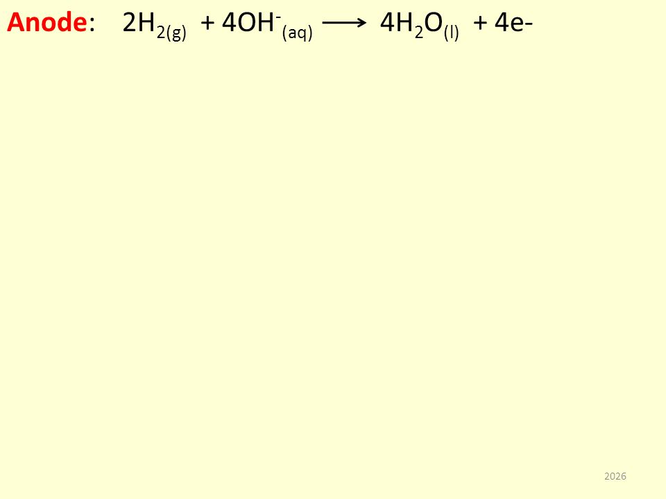 Anode: 2H 2(g) + 4OH - (aq) 4H 2 O (l) + 4e- 2026