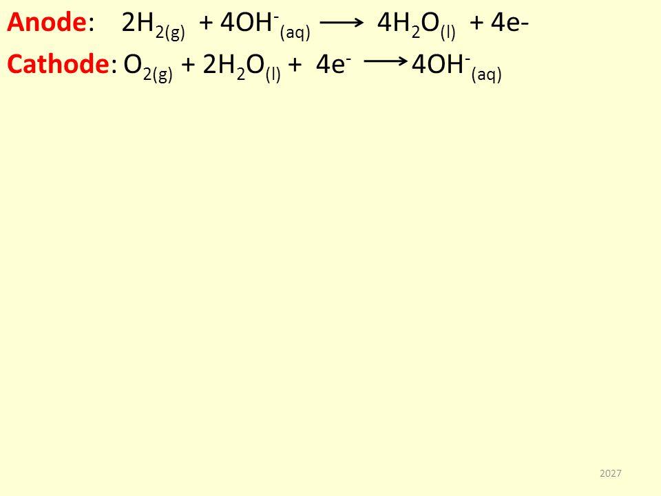Anode: 2H 2(g) + 4OH - (aq) 4H 2 O (l) + 4e- Cathode: O 2(g) + 2H 2 O (l) + 4e - 4OH - (aq) 2027