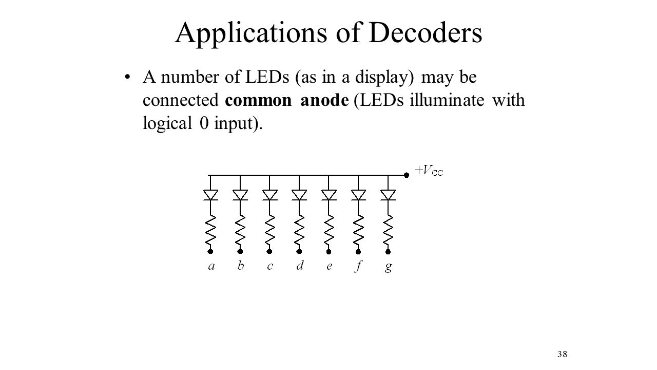 Applications of Decoders A number of LEDs (as in a display) may be connected common anode (LEDs illuminate with logical 0 input). 38