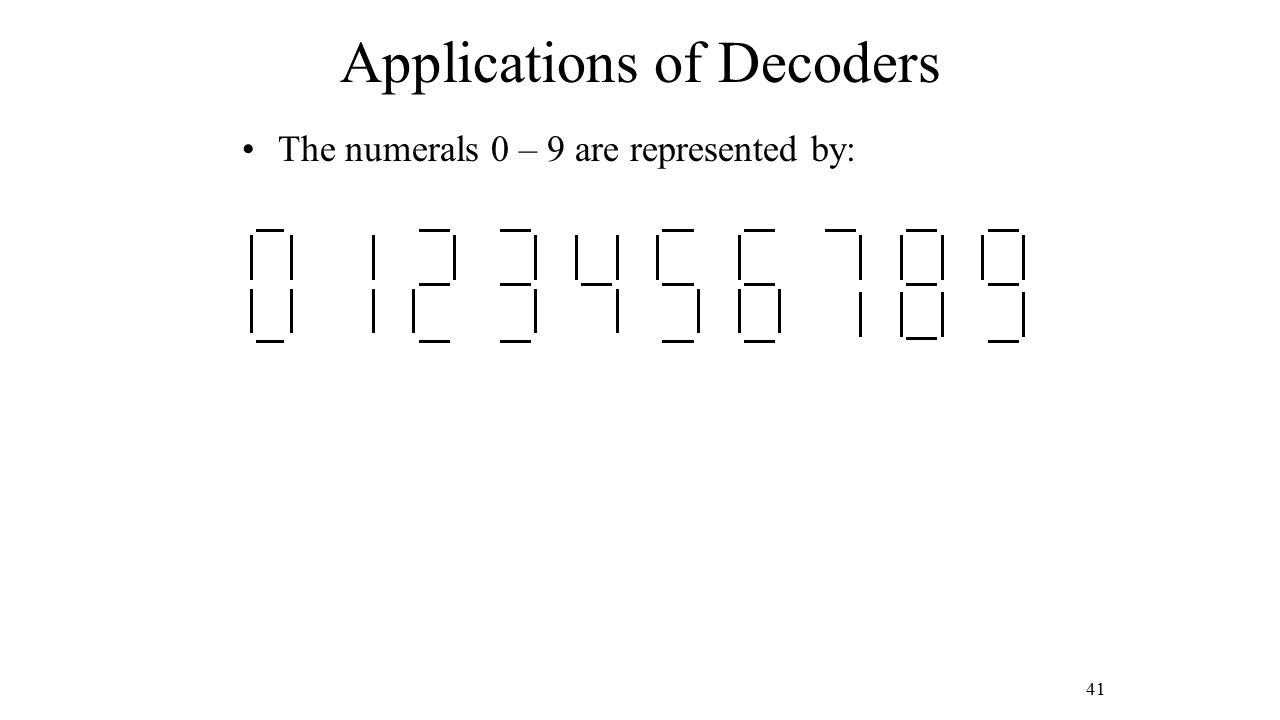 Applications of Decoders The numerals 0 – 9 are represented by: 41