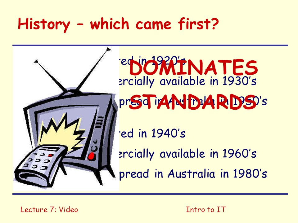 Lecture 7: VideoIntro to IT History – which came first?  Invented in 1920's  Commercially available in 1930's  Widespread in Australia in 1950's 