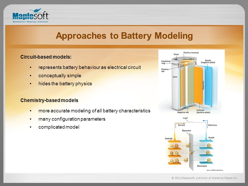 Approaches to Battery Modeling Circuit-based models: represents battery behaviour as electrical circuit conceptually simple hides the battery physics Chemistry-based models more accurate modeling of all battery characteristics many configuration parameters complicated model © 2011 Maplesoft, a division of Waterloo Maple Inc.