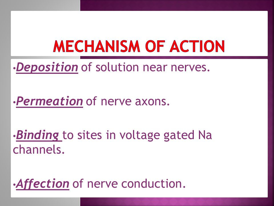 Deposition of solution near nerves. Permeation of nerve axons.