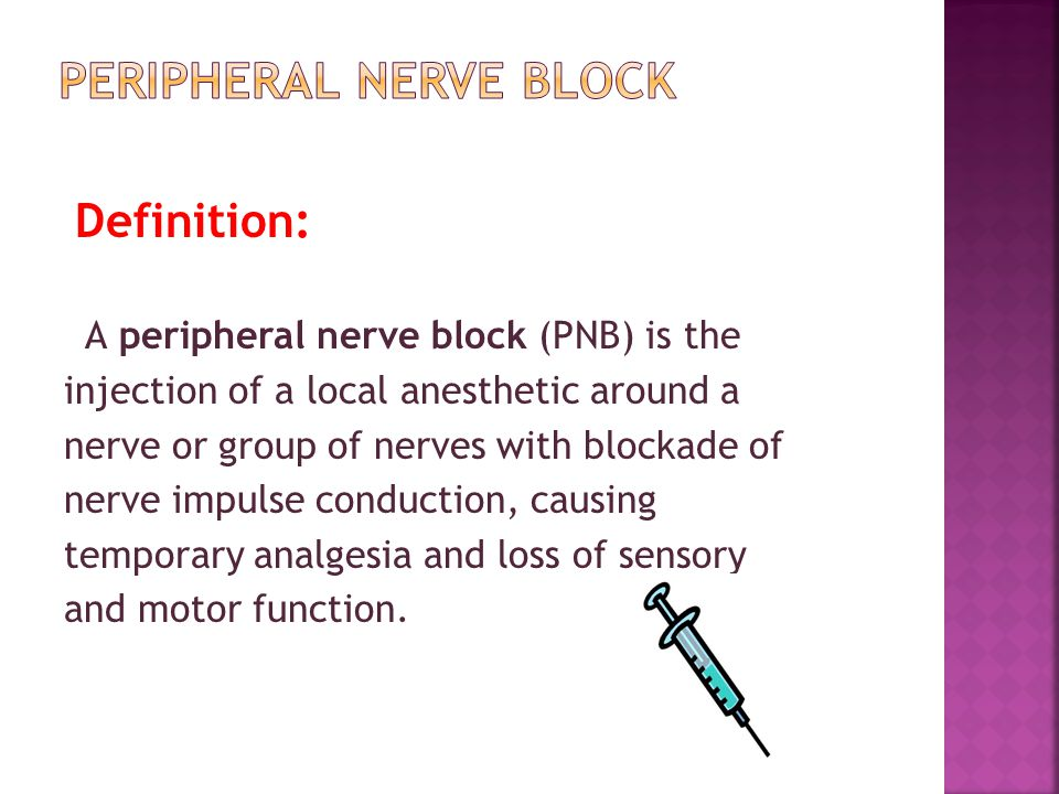  Local anesthetic toxicity  Bleeding/hematoma  Infection  Nerve injury  Transient paresthesias 1-3%  Permanent nerve injury ~1/10,000  F ailed block