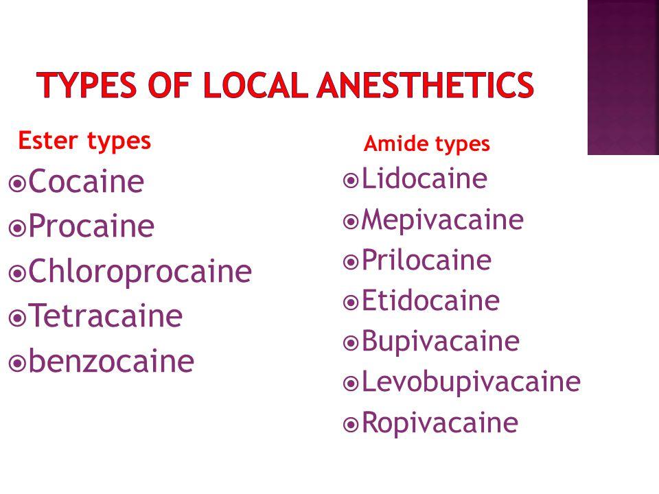 Ester types  Cocaine  Procaine  Chloroprocaine  Tetracaine  benzocaine  Lidocaine  Mepivacaine  Prilocaine  Etidocaine  Bupivacaine  Levobupivacaine  Ropivacaine Ester types Amide types