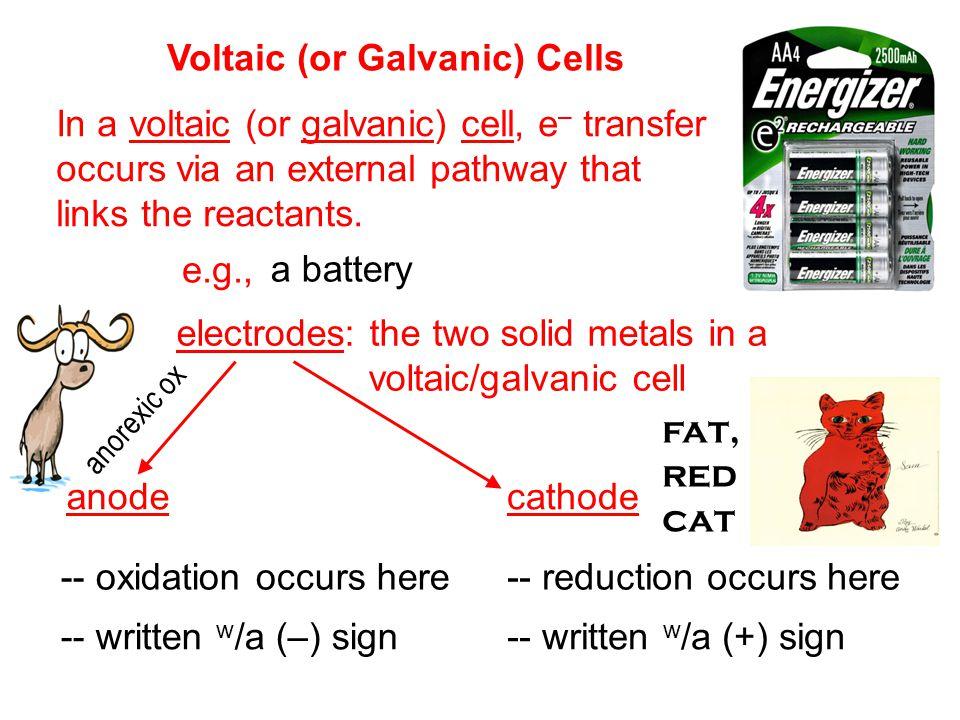 Consider a solution of Zn(NO 3 ) 2 (aq) and Cu(NO 3 ) 2 (aq) with electrodes as shown… e–e– e–e– Cu cathode Zn anode Cu 2+ NO 3 – Zn 2+ NO 3 – salt bridge containing electrolyte (e.g., NaNO 3 ) in a porous gel Zn 2+ Cu 2+ NO 3 – Na + WHY do the e – go the way they do.