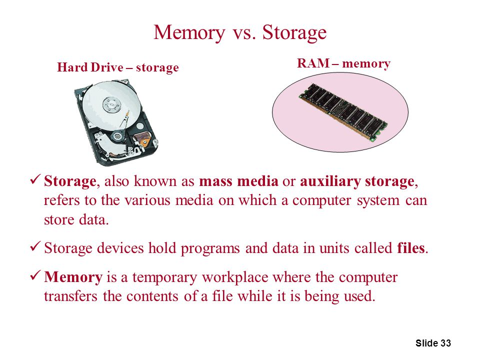 Slide 33 Hard Drive – storage RAM – memory Memory vs. Storage Storage, also known as mass media or auxiliary storage, refers to the various media on w