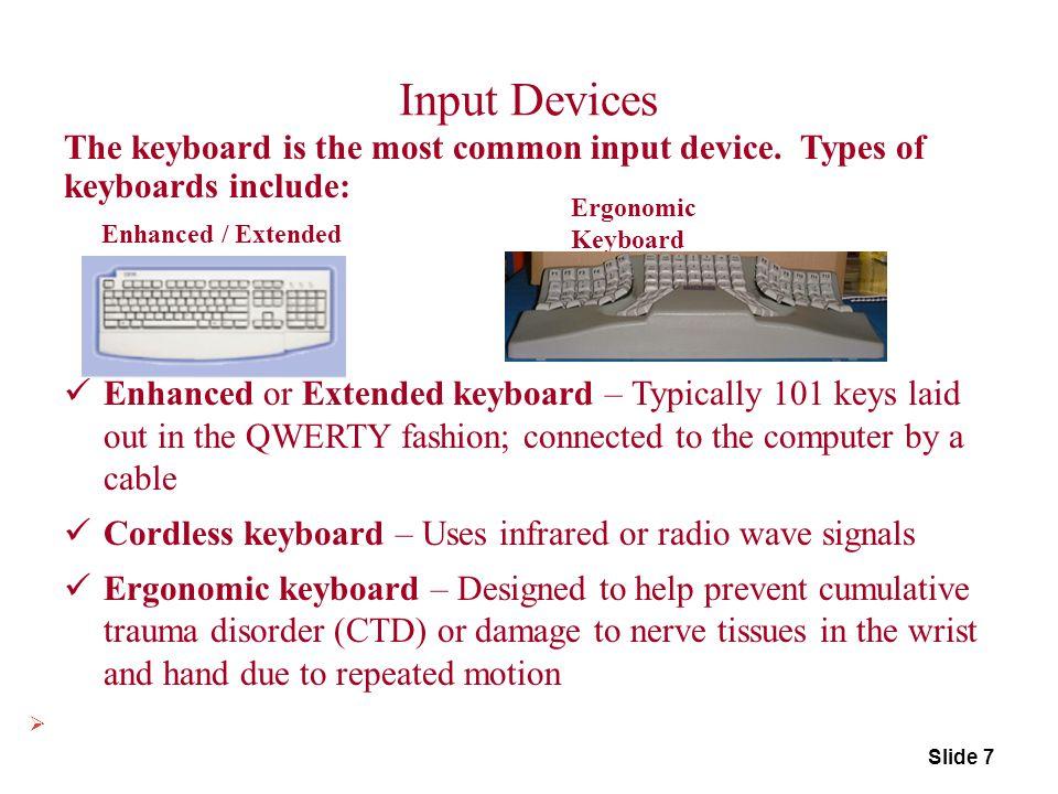 Slide 8 Keyboard Alphanumeric Keys Numeric Keys Function Keys Arrow Keys Combination Keys Keys (Ctrl, Alt, Shift) Special Keys