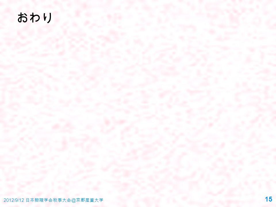 おわり 2012/9/12 日本物理学会秋季大会 @ 京都産業大学 15