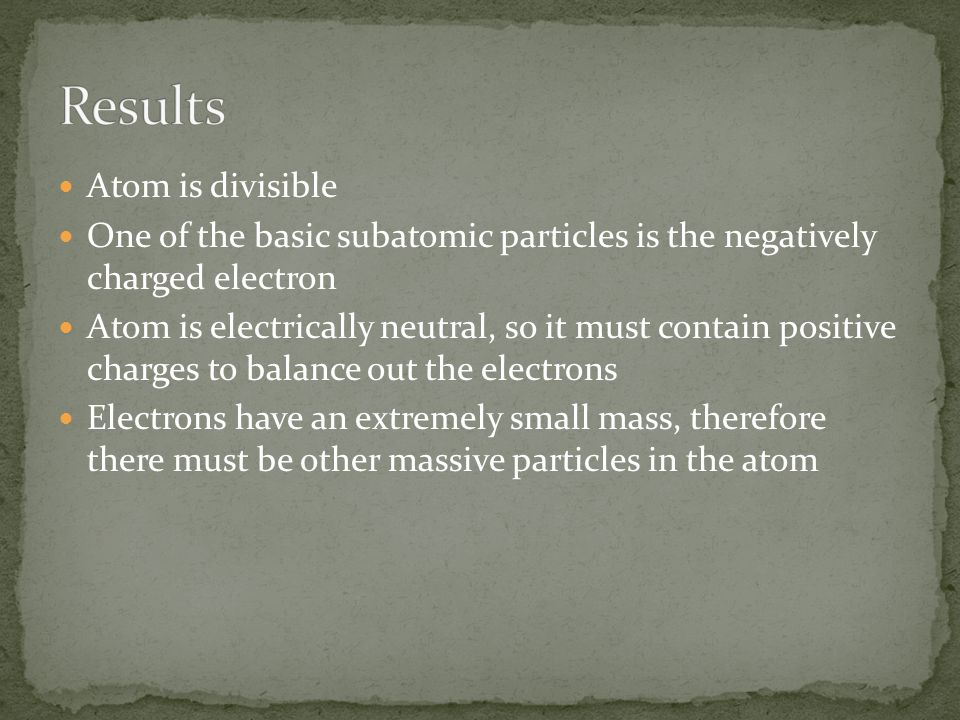 Atom is divisible One of the basic subatomic particles is the negatively charged electron Atom is electrically neutral, so it must contain positive charges to balance out the electrons Electrons have an extremely small mass, therefore there must be other massive particles in the atom