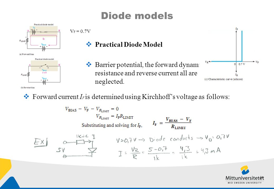 Diode models  Practical Diode Model  Barrier potential, the forward dynamic resistance and reverse current all are neglected. V F = 0.7V  Forward c