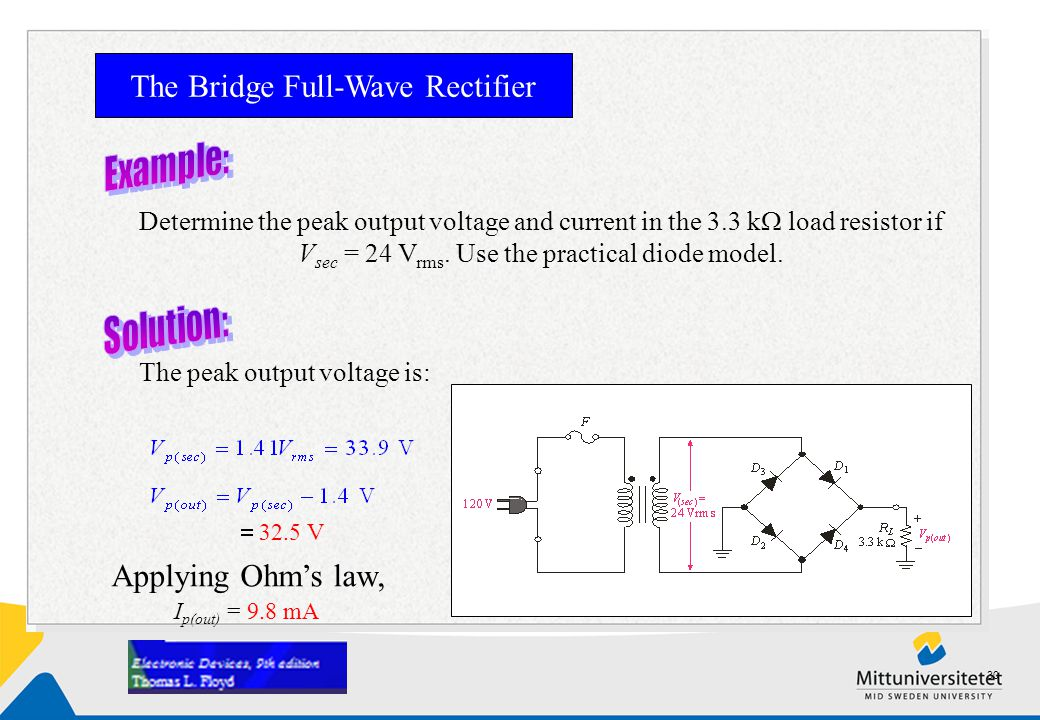 Determine the peak output voltage and current in the 3.3 k  load resistor if V sec = 24 V rms. Use the practical diode model. The Bridge Full-Wave Re