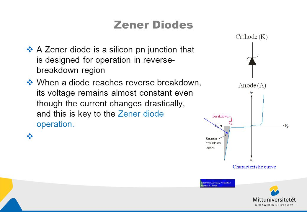 Zener Diodes  A Zener diode is a silicon pn junction that is designed for operation in reverse- breakdown region  When a diode reaches reverse break