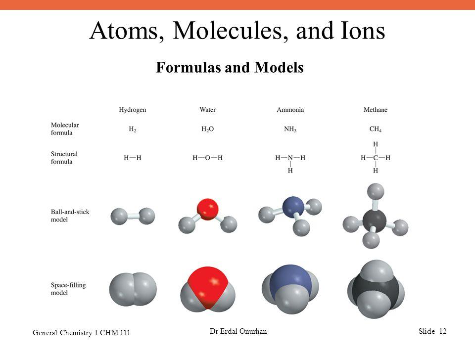 Atoms, Molecules, and Ions General Chemistry I CHM 111 Dr Erdal OnurhanSlide 12 Formulas and Models