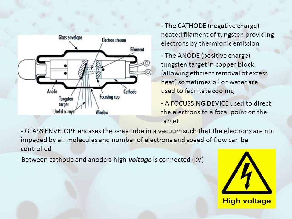 - The CATHODE (negative charge) heated filament of tungsten providing electrons by thermionic emission - The ANODE (positive charge) tungsten target in copper block (allowing efficient removal of excess heat) sometimes oil or water are used to facilitate cooling - A FOCUSSING DEVICE used to direct the electrons to a focal point on the target - GLASS ENVELOPE encases the x-ray tube in a vacuum such that the electrons are not impeded by air molecules and number of electrons and speed of flow can be controlled - Between cathode and anode a high-voltage is connected (kV)