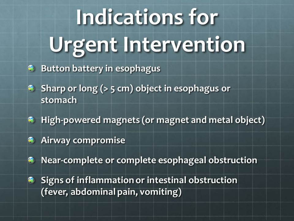 Cylindrical Batteries Most ingestions are intentional Intact cylindrical batteries pose low risk for caustic injury Most pass through GI tract without sequelae Endoscopic removal recommended if lodged in esophagus or if still pre-pyloric after 48 hours