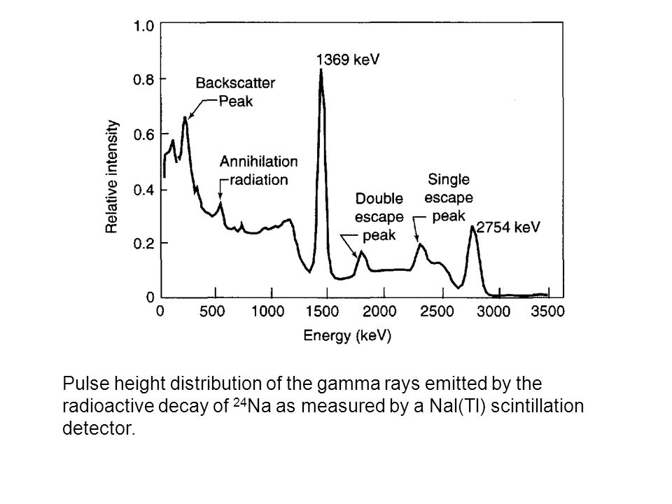 Pulse height distribution of the gamma rays emitted by the radioactive decay of 24 Na as measured by a Nal(Tl) scintillation detector.