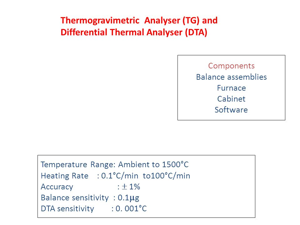 Thermogravimetric Analyser (TG) and Differential Thermal Analyser (DTA) Components Balance assemblies Furnace Cabinet Software Temperature Range: Ambi