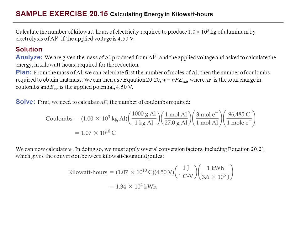 SAMPLE EXERCISE 20.15 Calculating Energy in Kilowatt-hours Calculate the number of kilowatt-hours of electricity required to produce 1.0  10 3 kg of
