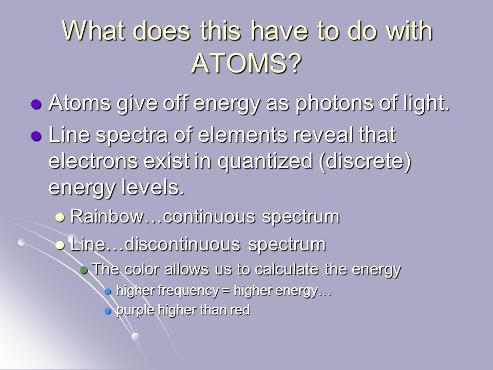 What does this have to do with ATOMS.Atoms give off energy as photons of light.
