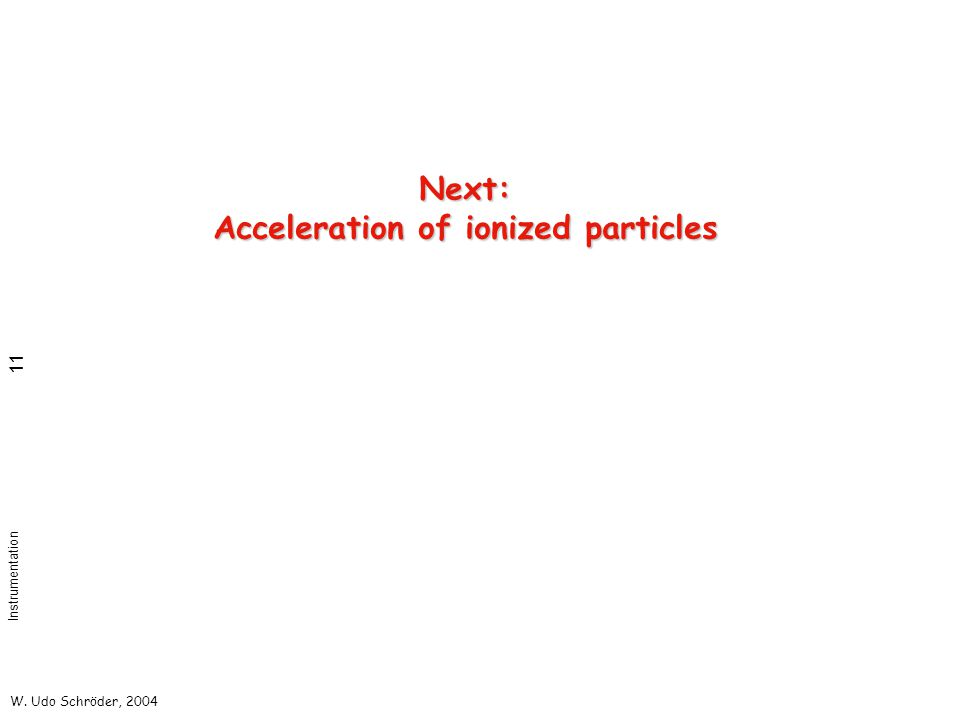 W. Udo Schröder, 2004 Instrumentation 11 Next: Acceleration of ionized particles