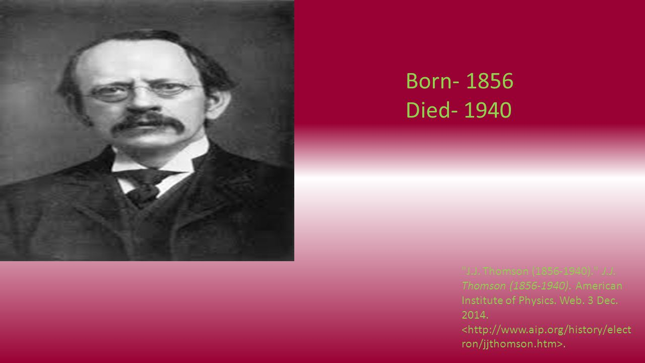 Born- 1856 Died- 1940 J.J. Thomson (1856-1940). J.J.
