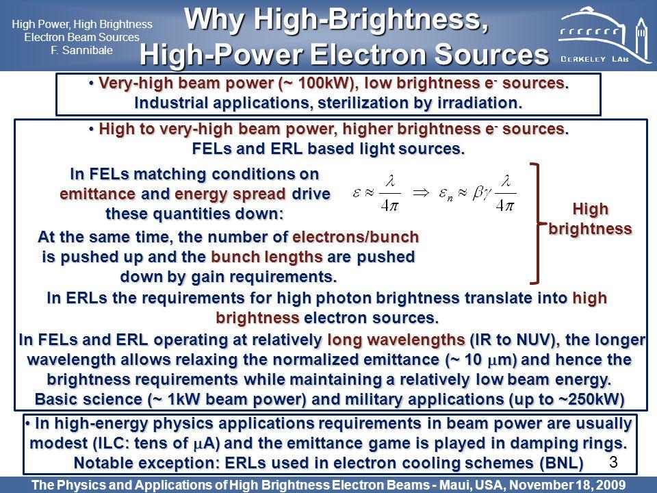 3 The Physics and Applications of High Brightness Electron Beams - Maui, USA, November 18, 2009 Why High-Brightness, Why High-Brightness, High-Power E
