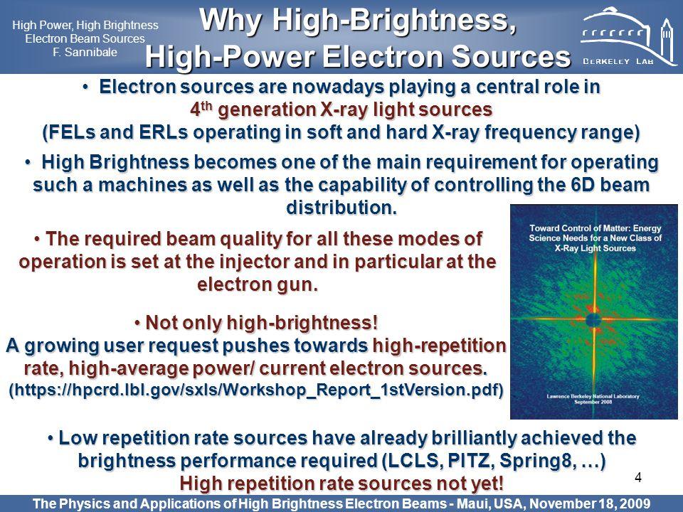 4 The Physics and Applications of High Brightness Electron Beams - Maui, USA, November 18, 2009 Why High-Brightness, Why High-Brightness, High-Power E