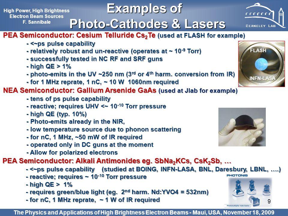 9 PEA Semiconductor: Alkali Antimonides eg. SbNa 2 KCs, CsK 2 Sb, … - <~ps pulse capability (studied at BOING, INFN-LASA, BNL, Daresbury, LBNL, ….) -