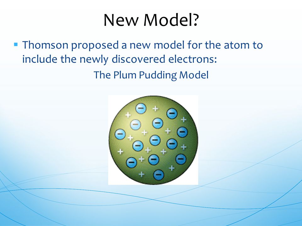 Thomson proposed a new model for the atom to include the newly discovered electrons: The Plum Pudding Model New Model?