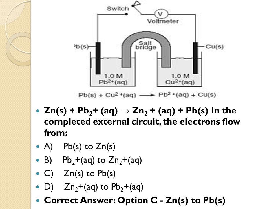Zn(s) + Pb 2 + (aq) → Zn 2 + (aq) + Pb(s) In the completed external circuit, the electrons flow from: A) Pb(s) to Zn(s) B) Pb 2 +(aq) to Zn 2 +(aq) C)
