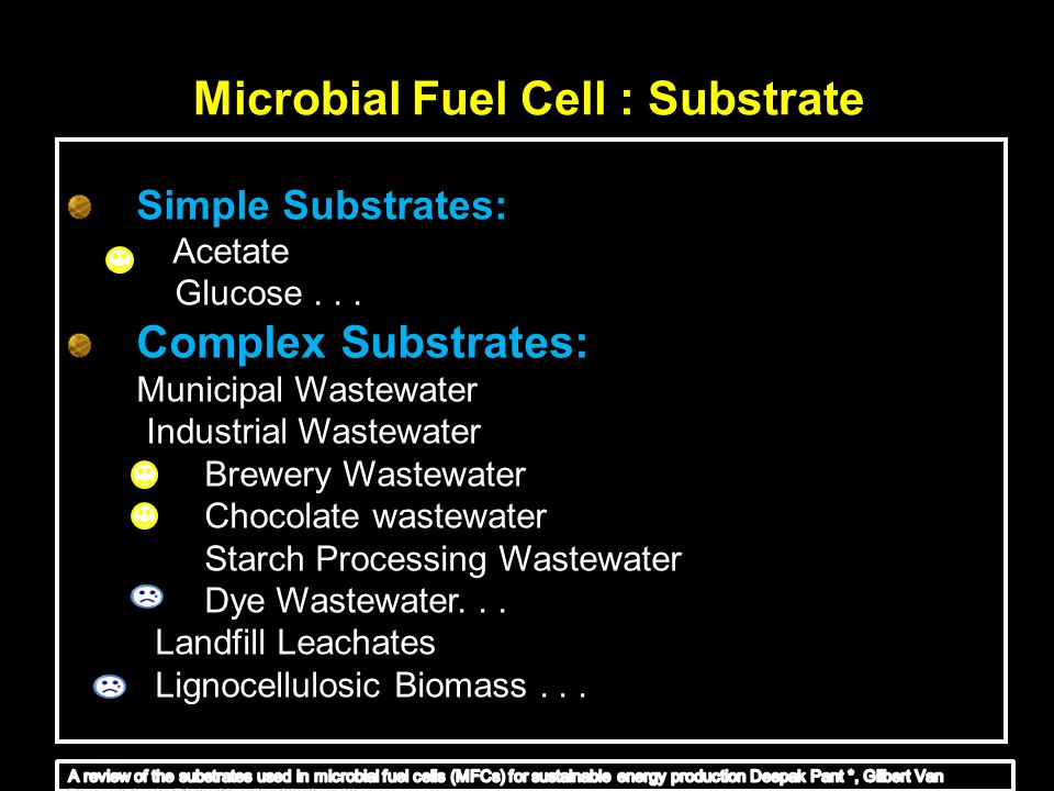 Microbial Fuel Cell : Substrate Simple Substrates: Acetate Glucose... Complex Substrates: Municipal Wastewater Industrial Wastewater Brewery Wastewate