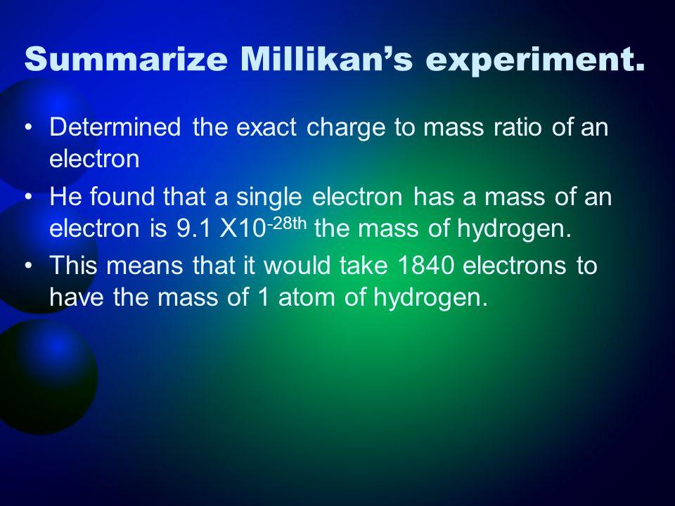Summarize Millikan's experiment.