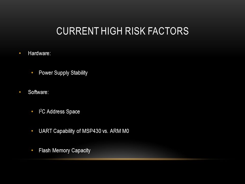 CURRENT HIGH RISK FACTORS Hardware: Power Supply Stability Software: I 2 C Address Space UART Capability of MSP430 vs.