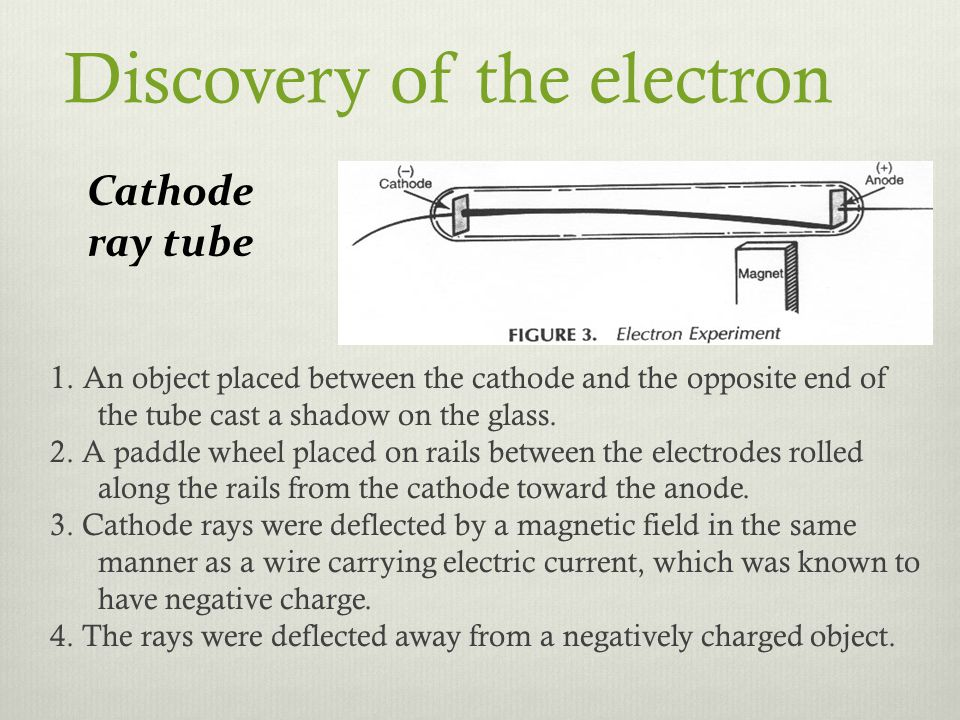 Discovery of the electron 1. An object placed between the cathode and the opposite end of the tube cast a shadow on the glass. 2. A paddle wheel place