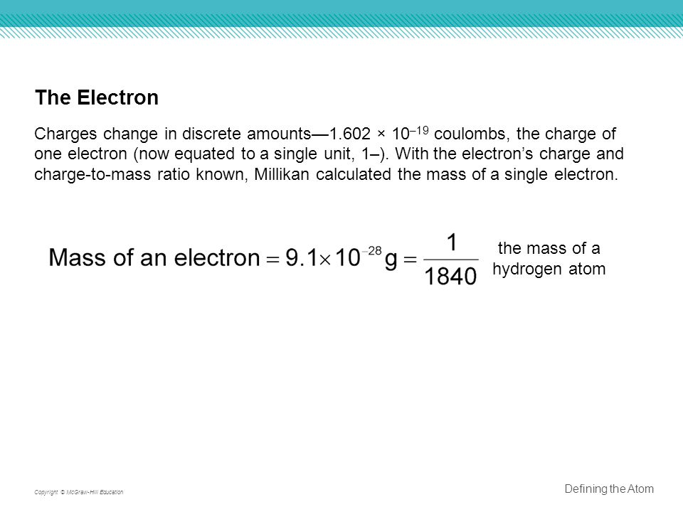 The Electron Charges change in discrete amounts—1.602 × 10 –19 coulombs, the charge of one electron (now equated to a single unit, 1–).