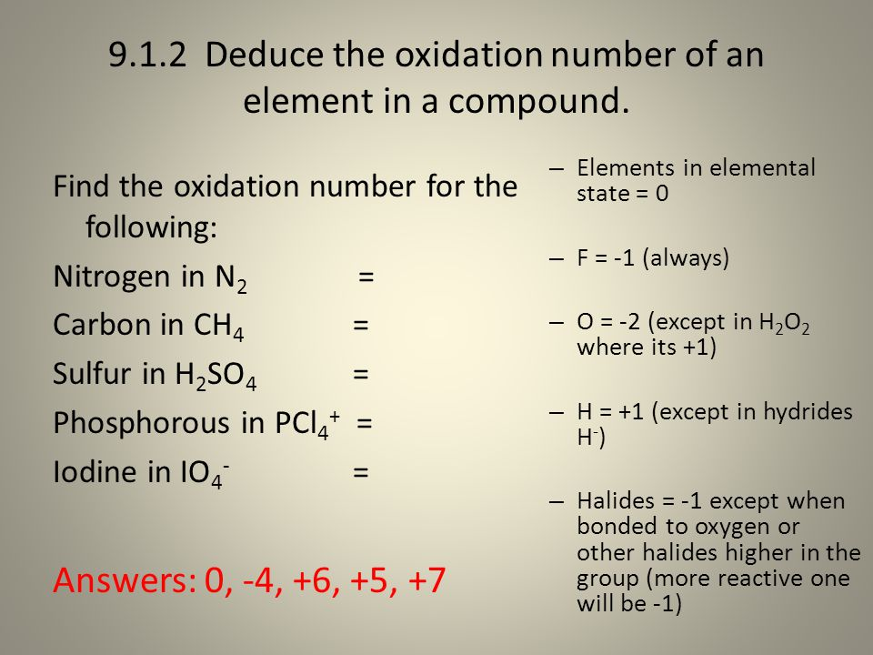 9.1.2 Deduce the oxidation number of an element in a compound. Find the oxidation number for the following: Nitrogen in N 2 = Carbon in CH 4 = Sulfur