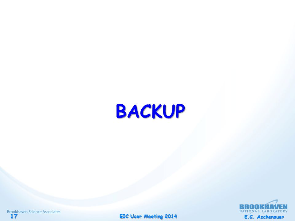 E.C. Aschenauer EIC User Meeting 2014 17 BACKUP