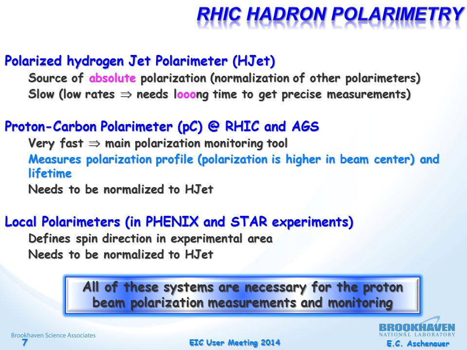 Polarized hydrogen Jet Polarimeter (HJet) Source of absolute polarization (normalization of other polarimeters) Slow (low rates  needs looong time to get precise measurements) Proton-Carbon Polarimeter (pC) @ RHIC and AGS Very fast  main polarization monitoring tool Measures polarization profile (polarization is higher in beam center) and lifetime Needs to be normalized to HJet Local Polarimeters (in PHENIX and STAR experiments) Defines spin direction in experimental area Needs to be normalized to HJet All of these systems are necessary for the proton beam polarization measurements and monitoring E.C.