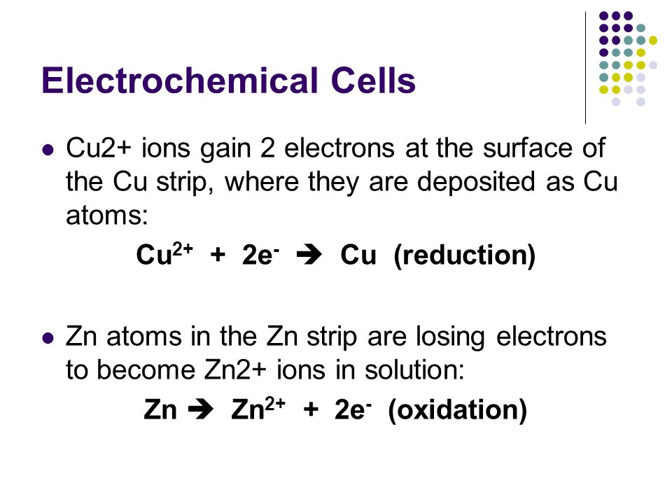 Electrochemical Cells voltaic cells are divided into 2 components called HALF CELLS: consist of a metal electrode in contact with a solution of its own ions.