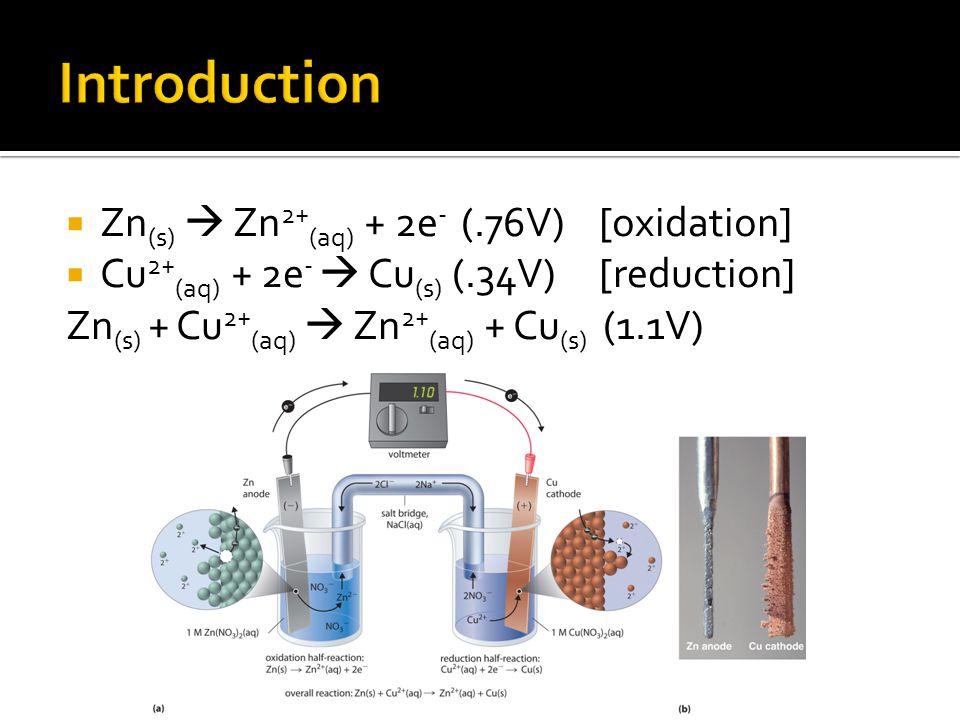 Zn (s)  Zn 2+ (aq) + 2e - (.76V) [oxidation]  Cu 2+ (aq) + 2e -  Cu (s) (.34V) [reduction] Zn (s) + Cu 2+ (aq)  Zn 2+ (aq) + Cu (s) (1.1V)