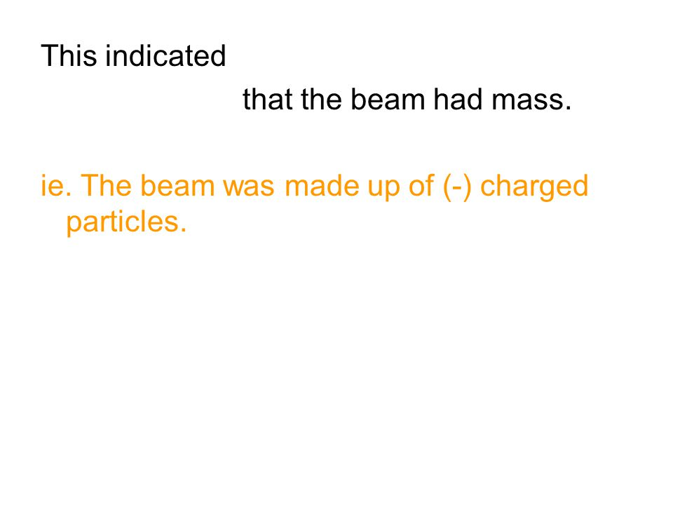 This indicated that the beam had mass. ie. The beam was made up of (-) charged particles.