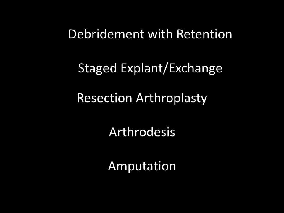 Debridement with Retention Staged Explant/Exchange Resection Arthroplasty ArthrodesisAmputation