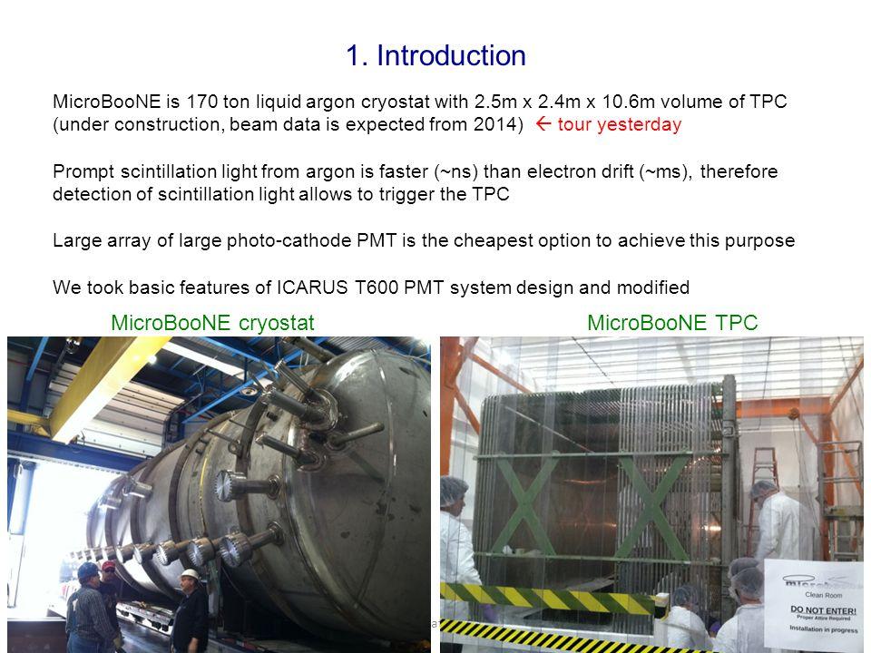 05/31/13Teppei Katori, MIT3 1. Introduction MicroBooNE is 170 ton liquid argon cryostat with 2.5m x 2.4m x 10.6m volume of TPC (under construction, be