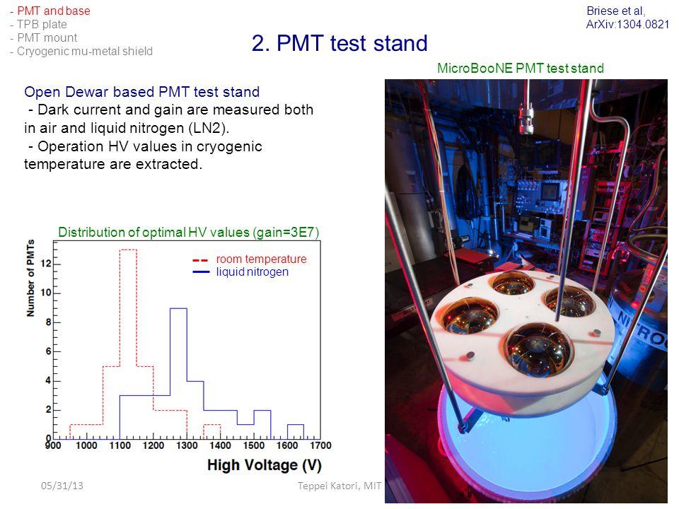 05/31/13Teppei Katori, MIT9 2. PMT test stand Open Dewar based PMT test stand - Dark current and gain are measured both in air and liquid nitrogen (LN