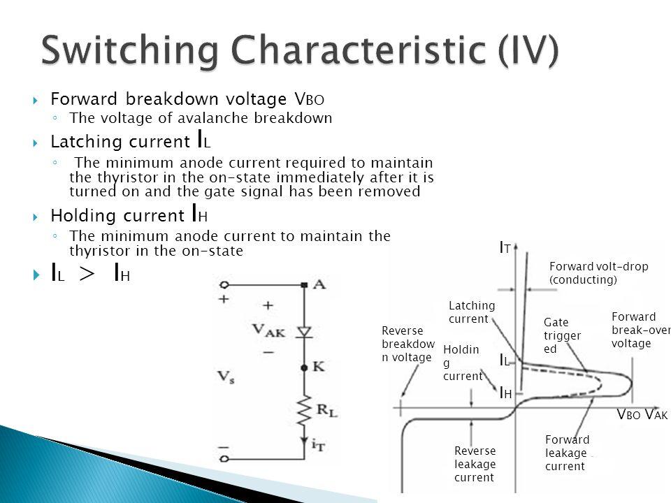 Reverse breakdow n voltage Holdin g current Reverse leakage current Latching current Forward volt-drop (conducting) Forward break-over voltage Forward
