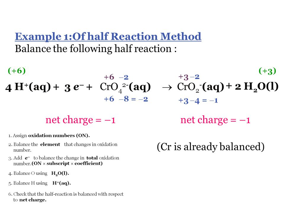 G. Balancing Redox Reactions  sometimes most reactants and products are known but the complete reaction is not given…called a reaction skeleton  The