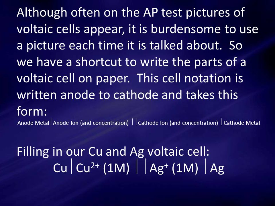 Although often on the AP test pictures of voltaic cells appear, it is burdensome to use a picture each time it is talked about.