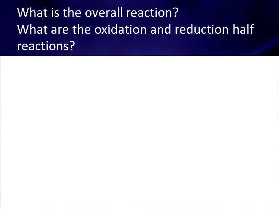 What are the oxidation and reduction half reactions